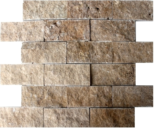Noce SplitFace Travertine Mosaic 2x4
