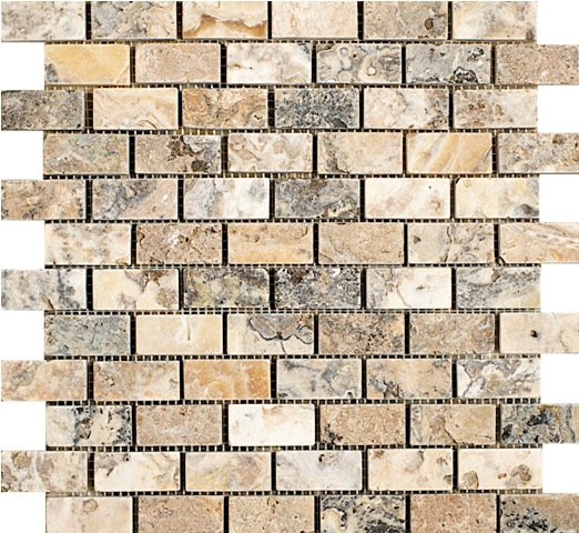 Antico Travertine Mosaic 1x2
