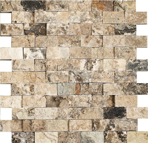 Antico Travertine SplitFace Mosaic 1x2