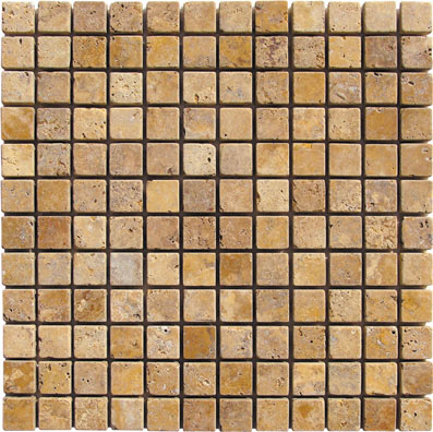 Gold Mosaic Travertine 1x1