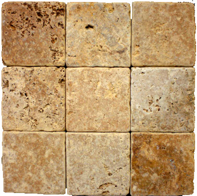 Gold Tumbled Travertine 4x4