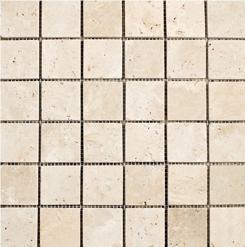 Light Travertine Mosaic 2x2