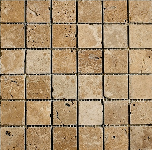 Noce Travertine Mosaic 2x2
