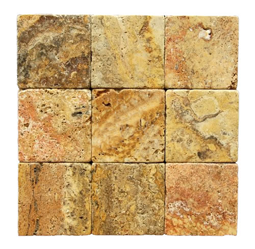 Scabos Tumbled Travertine 4x4
