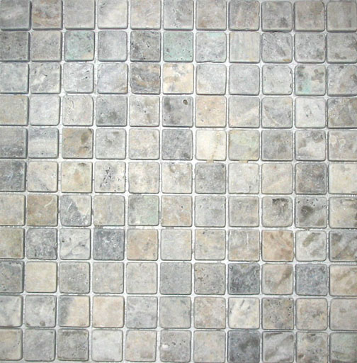 Silver Travertine Mosaic 1x1