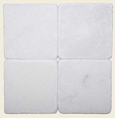 White Tumbled Marble 4x4 - Click Image to Close